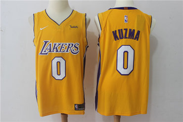 outlet store 21089 c0ac1 Lakers 0 Kyle Kuzma Yellow Nike Authentic Jersey