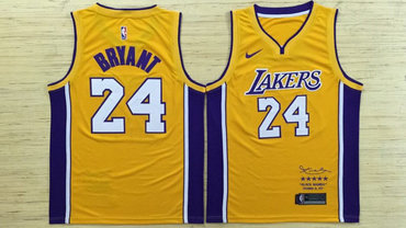9e833218a Lakers 24 Kobe Bryant Yellow Black Mamba Nike Swingman Jersey