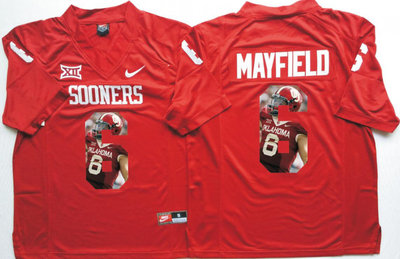 da0249c0880 Oklahoma Sooners 14 Baker Mayfield All Red Portrait Number College Jersey