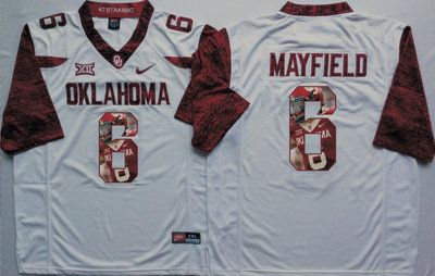 030bc7ec536 Oklahoma Sooners 14 Baker Mayfield White Portrait Number College Jersey