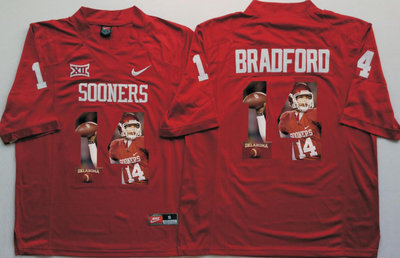 6ecf6e3fe1f Oklahoma Sooners 14 Sam Bradford All Red Portrait Number College Jersey
